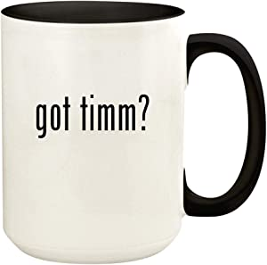 got timm? - 15oz Ceramic Colored Handle and Inside Coffee Mug Cup, Black