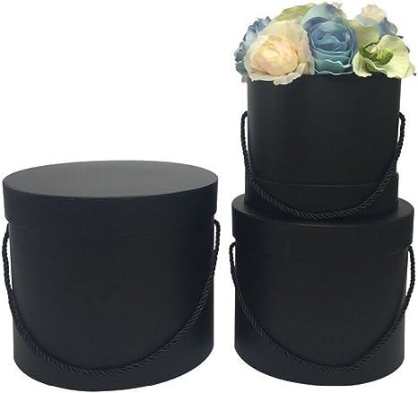 Juego de 3 cajas de flores redondas en negro con cordón negro, caja con tapa, unifarbene Sombrerera, negra Cajas de regalo, personalizable: Amazon.es: Hogar