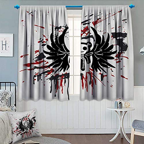 Anhounine Halloween,Blackout Curtain,Teddy Bones with Skull Face and Wings Dead Humor Funny Comic Terror Design,Patterned Drape for Glass Door,Pearl Black Ruby,W84 x L72 inch -