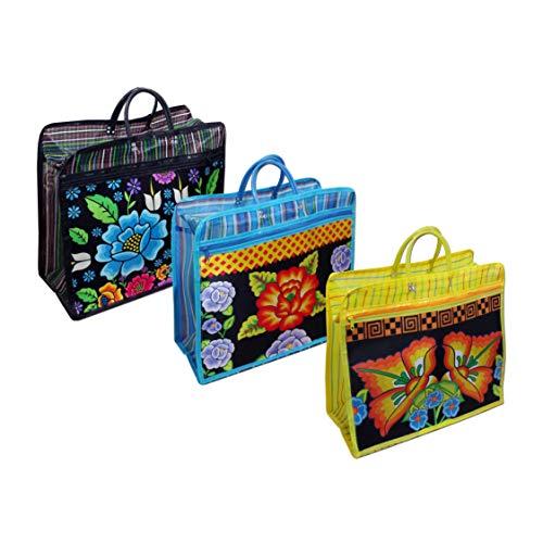 Amazon.com: Bolsa Azul, FLOR TEHUANA*. Bolsa de Malla, mide ...