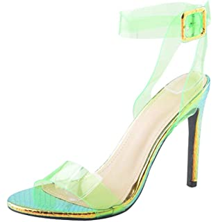 45d53bb46b6 WSKEISP Womens Clear Open Toe Stiletto High Heel Sandals Ankle Strap  Slingback Strappy Heels