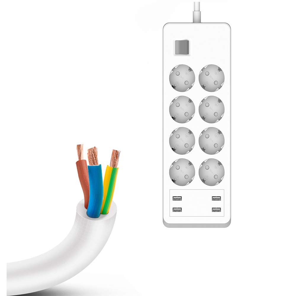 Compatible por App Android o iOS Compatible con Alexa Google Assistant Enchufe M/últiple Inteligente Control de Voz Enchufe Regleta Inteligente WiFi 8 Tomas 4 USB