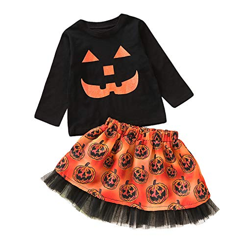 Halloween Toddler Baby Girls Skirt Set Long Sleeve Top Shirt+Pumpkin Tutu Tulle Dress Cosplay Clothing Outfits (Black, 4