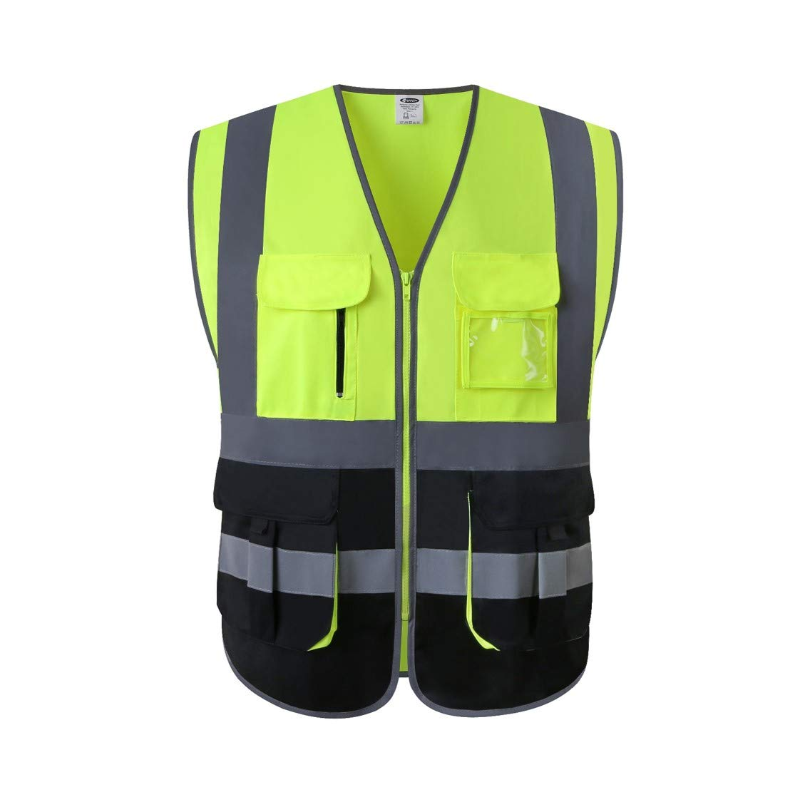 JKSafety Multi Pockets Class 2 High Visibility Zipper Front Safety Vest With Reflective Strips.Meets ANSI/ISEA Standards (Yellow-Black M)