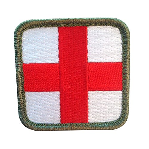 Medic Cross Morale Tactical Patch with Velcro for Winter Snow Camo Patterns, First Aid Kits / Pouches, and Backpacks / Bags (Arctic White, 2