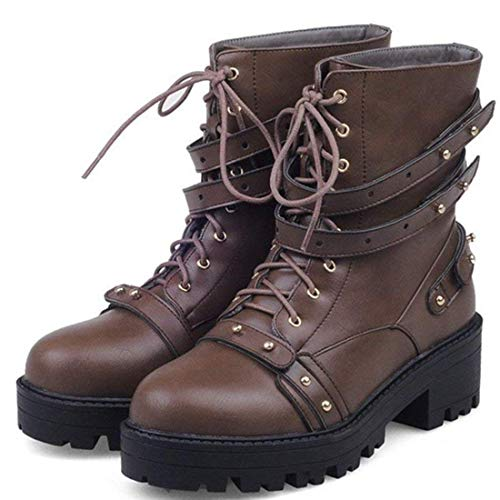 Woman Bottines Studded Plateforme Chaussures Boots Heels Ankle Bloc dSfETq