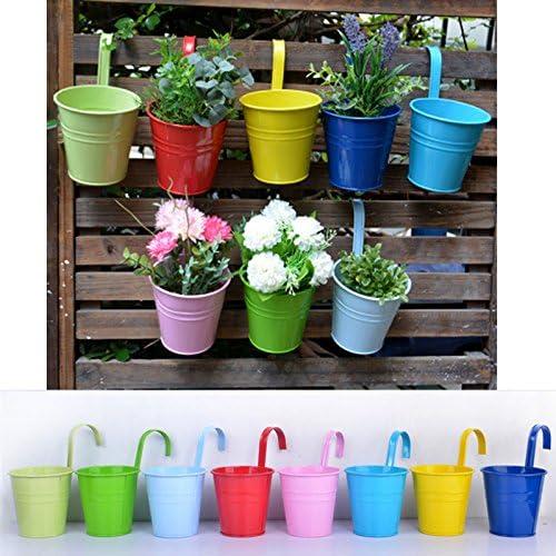 Wiiguda@8* Metal Hierro Maceta Colgante de Flor, Vaso de Balcon, Pote de Jardin, Decoracion de Casa, 8 Colores Diferentes: Amazon.es: Jardín