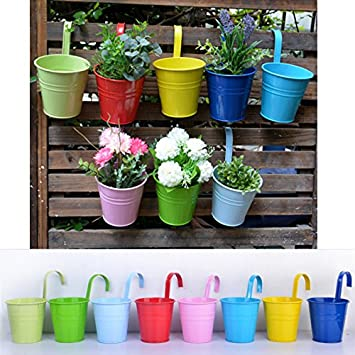Wiiguda Lot 8 Pots De Fleurs Suspendu Colores En Metal Pot De Fleur