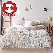AOJIM 100% Cotton Bedding Bedroom 3 pcs Sets with 2 Envelope Pillowcase, Soft Duvet Cover for Kids/Teens/Adult