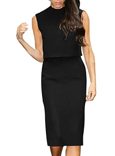 VfEmage Womens Celebrity Elegant Sleeveless Wear To Work Casual Pencil Dress