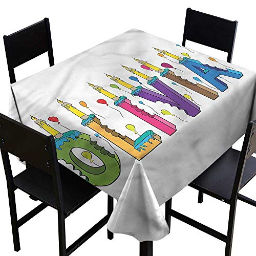 Anshesix Square Tablecloth Olivia Colorful Cartoon Design Washable Tablecloth W50 xL50 Waterproof/Oil-Proof/Spill-Proof Tabletop Protector ()