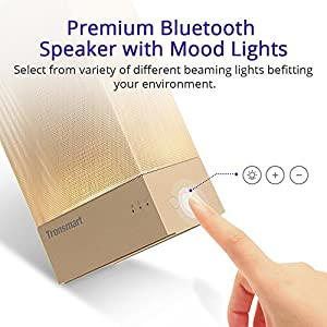 Tronsmart Beam Bluetooth Speaker with Mood Lights, 18 hours Playtime, 15 Watt Dual Driver Deep Bass Wireless Bluetooth 4.1 Led Light Speakers for Home, iPhone 8/8 Plus/X, Android Samsung Note 8