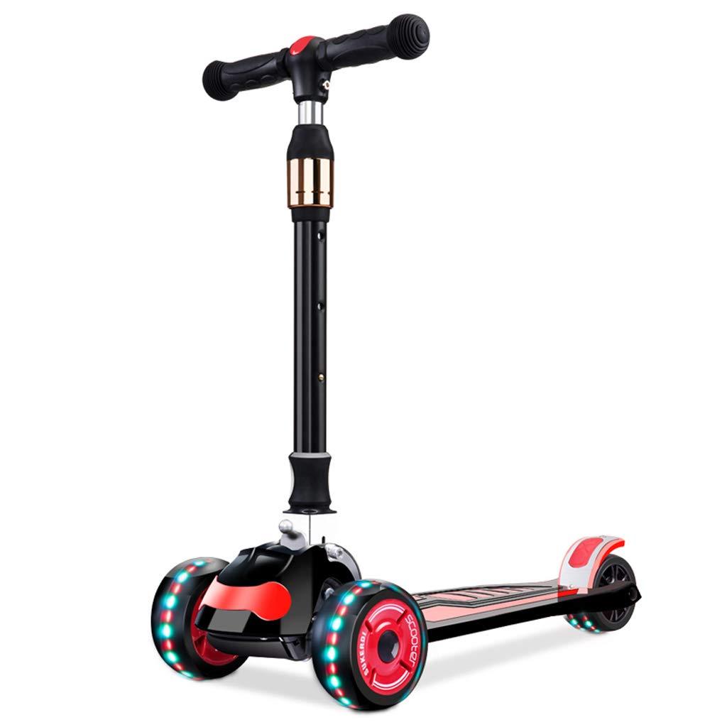 軽量4輪傾斜と回転式キックスクーター LEDライトアップホイール Tバー ボビボード 男の子 女の子 子供 2~16歳用 ブラック abc123456 B07J2J2P34 ブラック ブラック