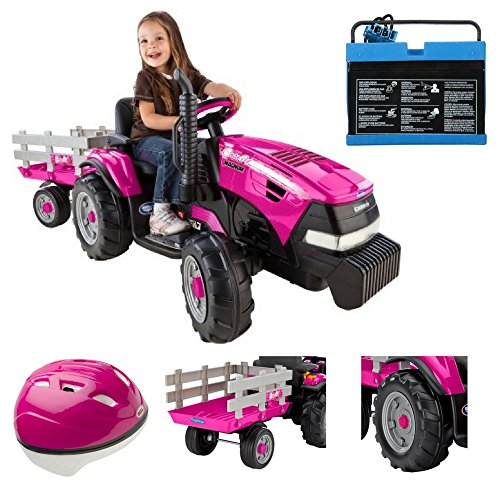 Tractor/Trailer Case IH Magnum 12-Volt Battery Powered Ride-On, Pink Helmet & 12-Volt Rechargeable/Spare Battery, Peg Perego, Battery Powered Ride On Toy, Outdoor Play, Case IH, Peg Perego 12V Battery