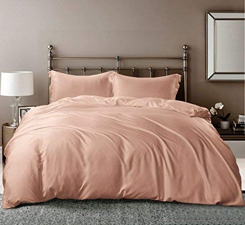 LINENWALAS Bamboo Duvet Cover King | Christmas 100% Organic Softest Moisture Wicking Bedding Comforter Cover |Silk Like Soft, 3 Pc Zipper Duver Cover Set (King/Cal King, Rose Gold)