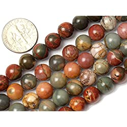 8mm Natural Round Picasso Jasper Gemstone Loose Beads In Bulk For Jewelry Making Wholesale Beads One Strand 15 1/2""