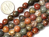 """8mm Natural Round Picasso Jasper Gemstone Loose Beads In Bulk For Jewelry Making Wholesale Beads One Strand 15 1/2"""""""