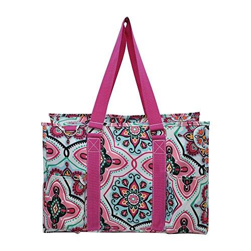 N Gil All Purpose Organizer Medium Utility Tote Bag 3 (Floral Garden Hot Pink) (Zip Floral Tote Top)
