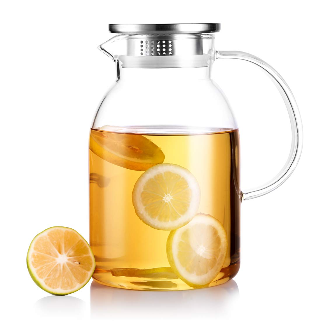 JIAQI 62 Ounces Large Borosilicate Glass Pitcher with Stainless Steel Infuser Lid, High Resistance Water Carafe with Spout and Handle, Great for Hot/Cold Water, Iced Tea and and Juice Beverage