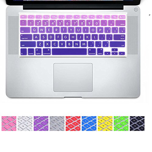 DHZ Big Font Violet Gradient Keyboard Cover Silicone Skin for 2015 or Older Version MacBook Air 13 MacBook Pro 13 15 inch (No Fit for 2018 MacBook air 13 or 2017/2016 Released New MacBook Pro 13 15)
