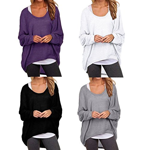 Fashion Story Women's Casual Oversized Long Batwing Sleeve Baggy Shirt Pullover Blouse Tops