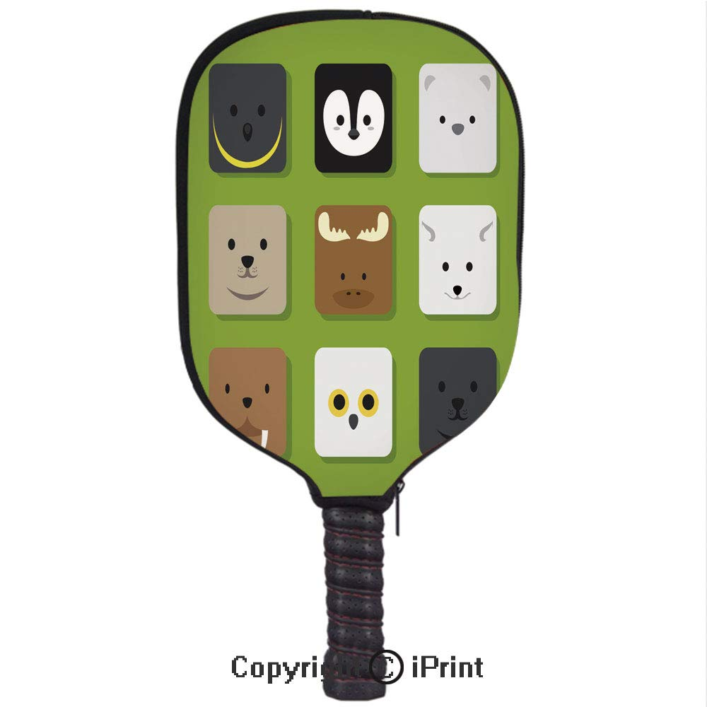 Amazon.com : 3D Pickleball Paddle Racket Cover Case with Diving Material, Flat Animal Faces Application Icon Cartoon Vector Set 5(Size:8.23
