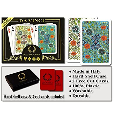 DA VINCI Fiori, Italian 100% Plastic Playing Cards, 2 Deck Set with Hard Shell Case and 2 Cut Cards; Choose from Poker Size Jumbo Index or Bridge Size Regular Index: Sports & Outdoors