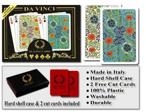 Da Vinci Fiori, Italian 100% Plastic Playing Cards, 2-Deck Bridge Size Regular Index Set, with Hard Shell Case & 2 Cut Cards