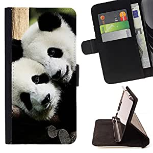 - Panda Cute Face - - Monedero pared Design Premium cuero del tir?n magn?tico delgado del caso de la cubierta pata de ca FOR LG Nexus 5 D820 D821 Funny House