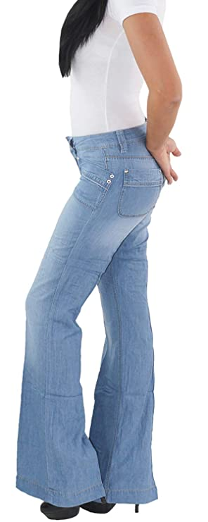 SOTALA Damen Schlaghose Bootcut Flared Stretch Hüft Jeans Hose Seitenstreifen