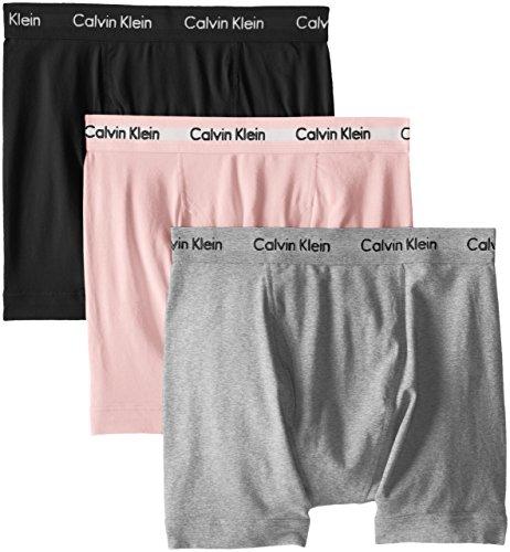 Calvin Klein Men's Cotton Stretch Boxer Briefs, Black/Grey Heather/Nymphs Thigh, Large