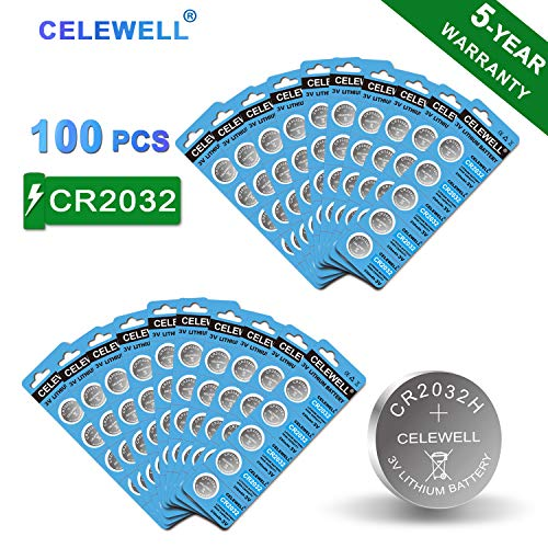 【5-Year Warranty】CELEWELL 100 Pack CR2032 Battery CR2032H 230mAh 3 Volt Lithium Battery Coin Button Cell