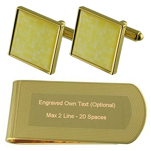 Engraved Money Clip Gift Gold Set Yellow Cufflinks Mosaic tone qgZxwHv