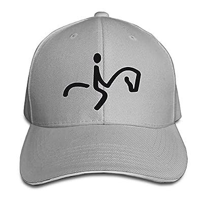 PTCY SportsIcon Equestrian Black Sandwich Peak Baseball Hat Snapback Cap Ash