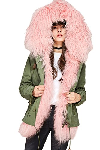 Women's Military Style Army Green Winter Coat With Hood & Pink Mongolian Lamb Fur