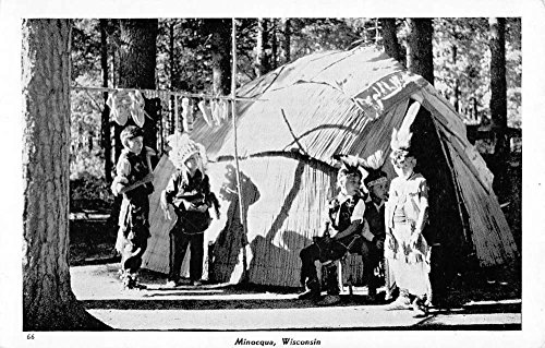 Postcard Teepee (Minocqua Wisconsin Indian Boy Scouts ? Teepee Antique Postcard K71512)