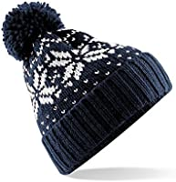 Beechfield Unisex Fair Isle Snowstar Winter Beanie Hat (One Size) (French Navy / White)