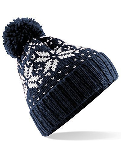 Beechfield Unisex Fair Isle Snowstar Winter Beanie Hat (One Size) (French Navy / - Mens Fair
