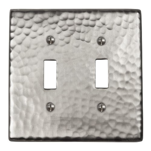 The Copper Factory CF123SN Solid Hammered Copper Double Switch Plate, Satin Nickel Finish by The Copper Factory