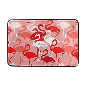 yochoice antideslizante alfombrilla de puerta decoración del hogar, Retro rojo Flamingo duradero interior al aire libre Entrada Felpudo 23,6x 15,7pulgadas