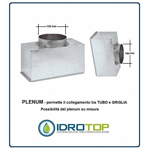 Plenum für Lüftungsgitter D.100mm H.100mm X Nova A in Blech–Aluminium, 1000x 100mm