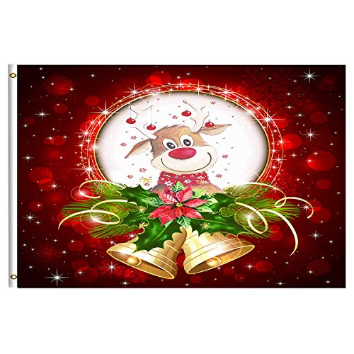 Christmas Reindeer Red Poinsettia Flower Jingle Bells Garden Flag 3x5 Feet with Brass Grommet Wind Double Stitch Merry Christmas Tree Winter Snow Happy New Year Banner Flag Breeze Outdoor Decorations