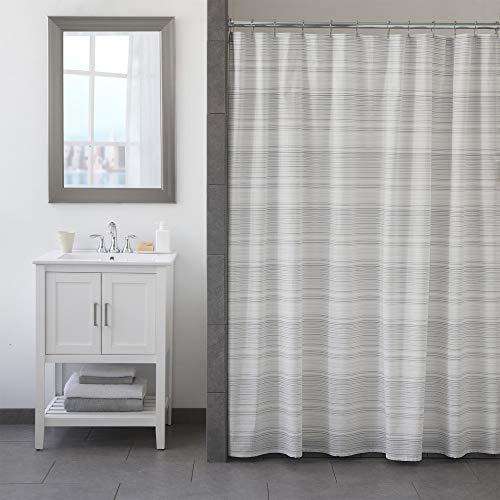 - FlatIron Seersucker Shower Curtain, 72 x 72, White/Taupe/Grey