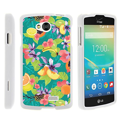 Compatible with LG Tribute LS660 / LG Optimus F60 / LG Transpyre, Rubberized Snap On Shell Full Cover Case Slim Fitted White Cover Images, from TurtleArmor - Peaches Fruits (Lg 35 Optimus Case)