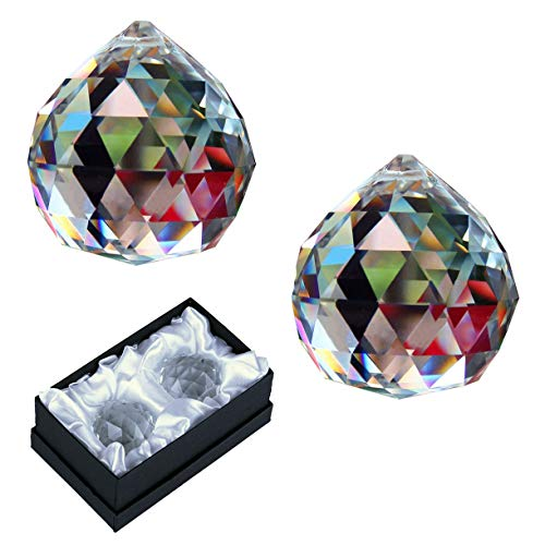 KARSLORA 40mm Pack of 2 Clear Crystal Glass Ball Prism Rainbow Hanging Pendant Suncatcher for Window