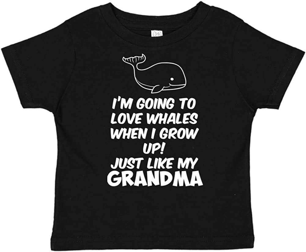 Toddler//Kids Short Sleeve T-Shirt Im Going to Love Whales When I Grow Up Just Like My Grandma