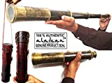 Aladean Rare Brass Telescope East India Company 1818 Tracker Spyglass Scope Replica Antique 32 inch Large Vintage Souvenir with Handstitched Leather Case