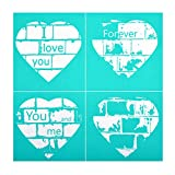 YeulionCraft DIY Self-Adhesive Silk Screen Printing Stencil, Phrase Sign Pattern for DIY Home Decor, T-Shirt, Pillow Fabric, Painting on Wood, Reusable Stencils, Heart-Shape