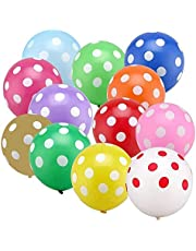 PuTwo Party Balloons 50 pcs 12 Inch Polka Dot Balloons Colourful Balloons Kids Party Decorations Birthday Decorations for Kids Spotty Balloons for Easter, Kids Party, Kids Birthday, Childrens Party