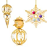 24K Gold Plated Crystal Studded Christmas Tree Ornaments Set Ornament by Matashi